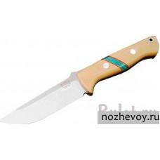 Нож с фиксированным клинком Bark River Bravo-1R 3VR Antique Ivory Micarta Handle with Turquoise Spacer